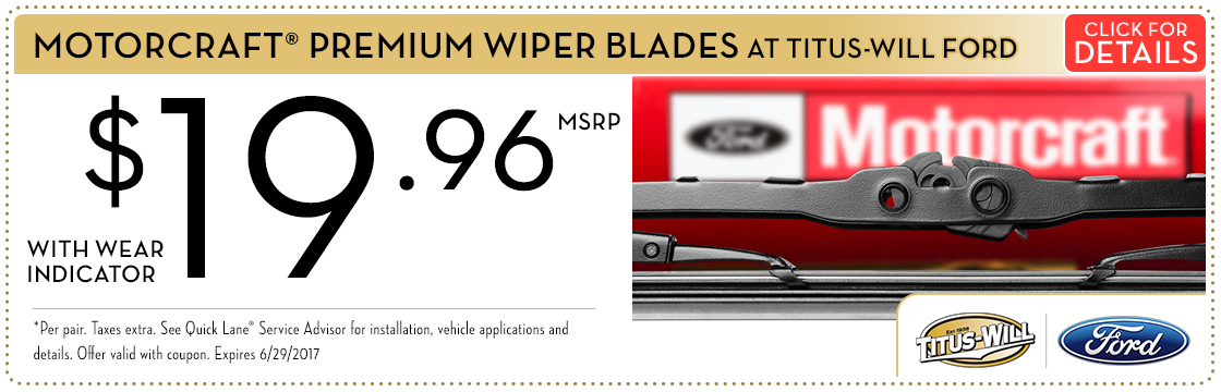 Click to view this Motorcraft® Premium Wiper Blades service special from Titus-Will Ford