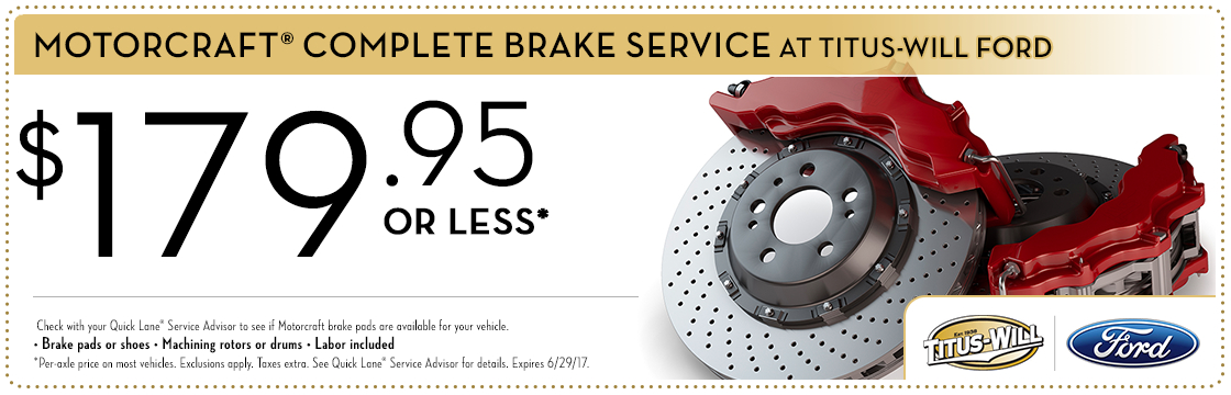 Motorcraft® Complete Brake Service special at Titus-Will Ford in Tacoma, WA