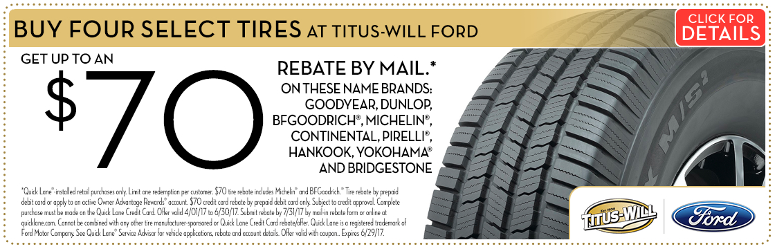 Click to view this Name Brand Tires with Rebates service special from Titus-Will Ford