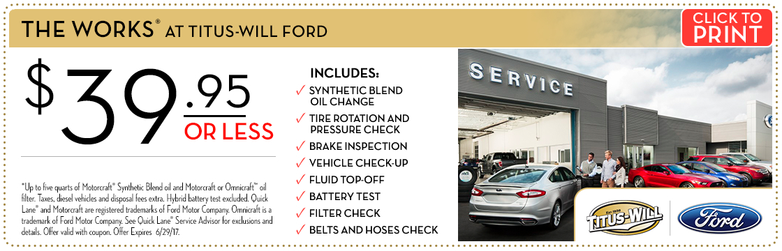 Click to print this The Works service special from Titus-Will Ford