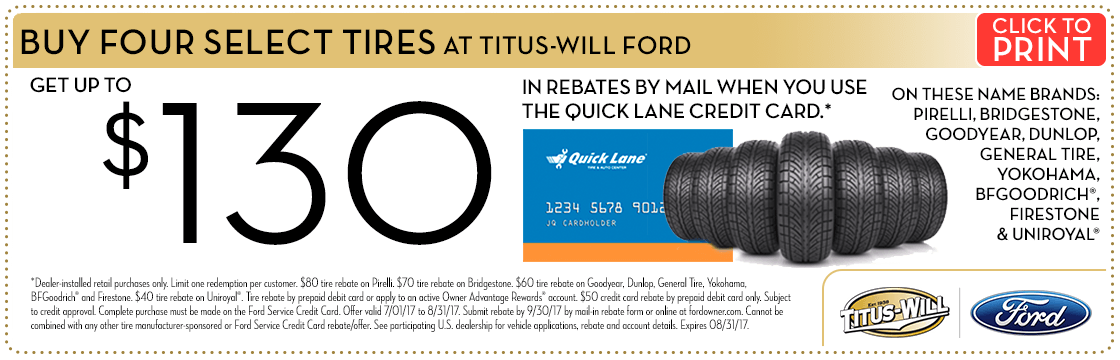 Buy a set of 4 tires and get a rebate at Titus Will Ford in Tacoma, WA
