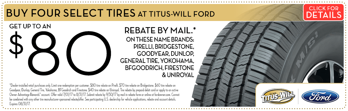 Buy 4 tires and get a rebate on purchase at Titus Will Ford in Tacoma, WA