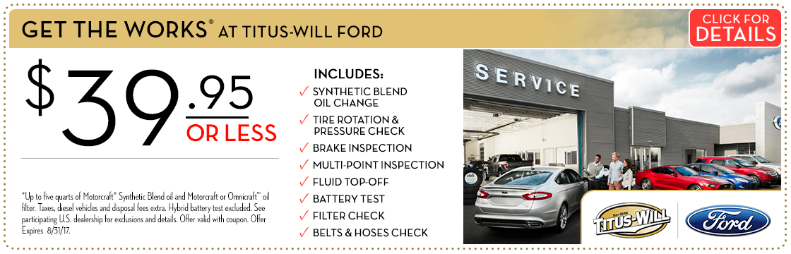 The Works Maintenance Package Special at Titus Will Ford in Tacoma, WA