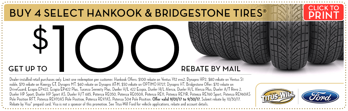 Save With Our Tire Rebates at Titus-Will Ford in Tacoma, WA