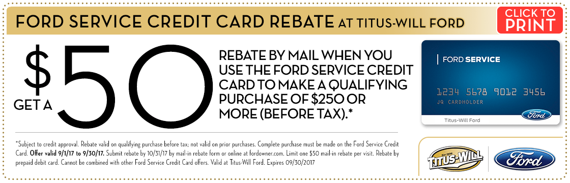 Get a Rebate With Your Ford Service Credit Card at Titus Will Ford in Tacoma, WA