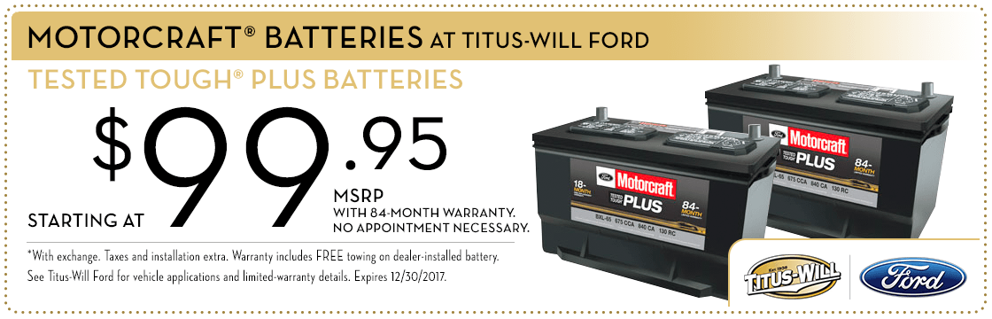 Ford Motorcraft Batteries service special at Titus-Will Ford in Tacoma, WA