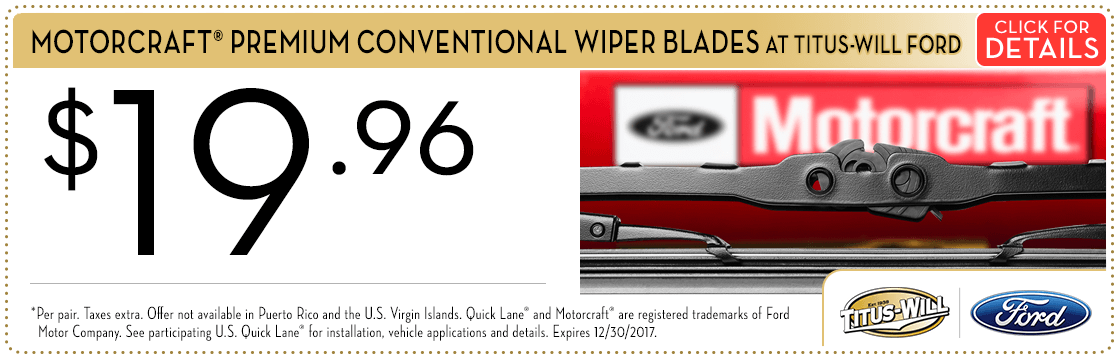 Click to view this Motorcraft® Premium Wiper Blades parts special from Titus-Will Ford
