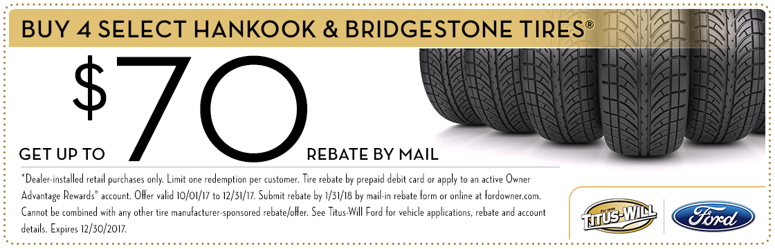 Hankook & Bridgestone Tire Rebates parts special at Titus-Will Ford in Tacoma, WA