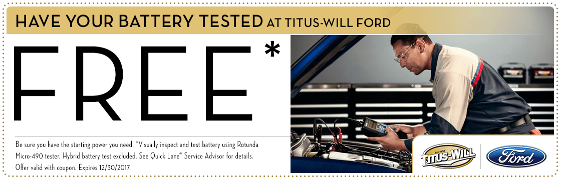 Free Battery Test service special at Titus-Will Ford in Tacoma, WA