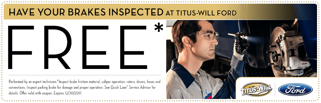 Free Brake Inspection service special at Titus-Will Ford in Tacoma, WA