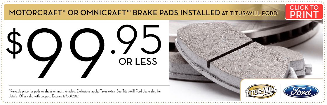 Click to print this Motorcraft® Brake Pad Installation service special from Titus-Will Ford