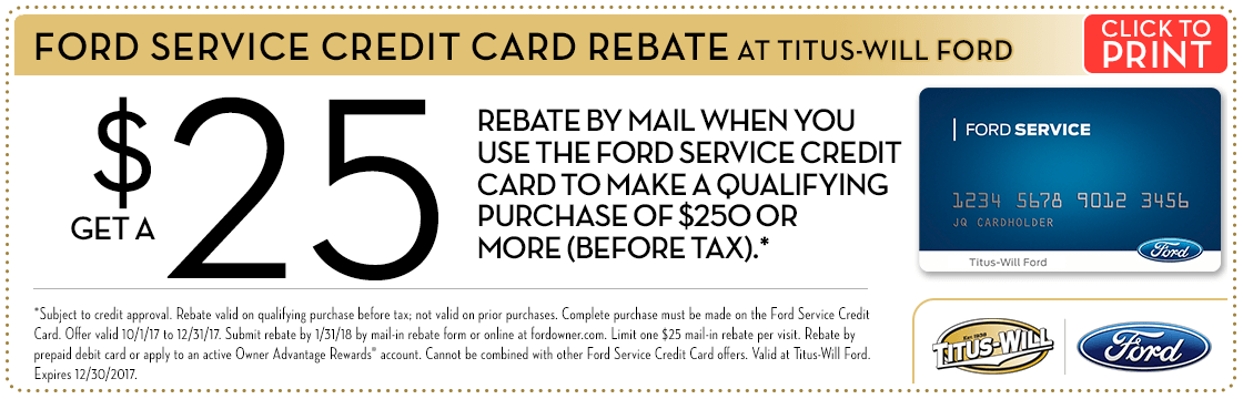 Quick Lane Credit Card Rebate at Titus Will Ford in Tacoma, WA