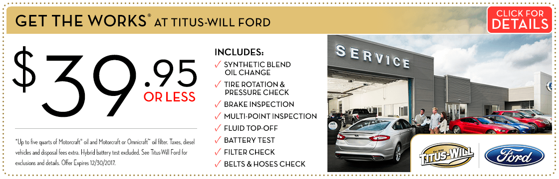 Save on Maintenance With THE WORKS at Titus Will Ford in Tacoma, WA