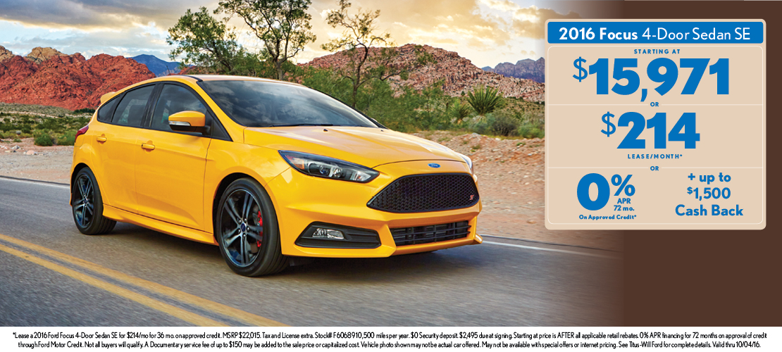 2016 Ford Focus Special Ford Sedan And Hatchback Offers