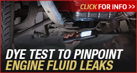 Click to browse our Toyota undercarriage engine fluid leak dye test service information in Tacoma, WA