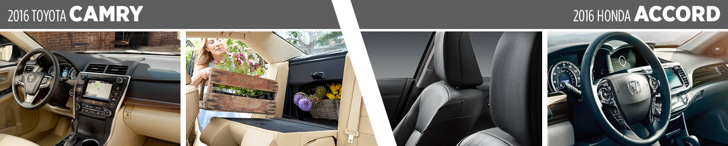 Interior Comparison between the 2016 Toyota Camry vs Honda Accord