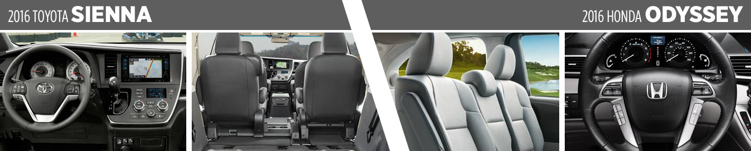 Visual Comparison between the 2016 Toyota Sienna vs the 2016 Honda Odyssey