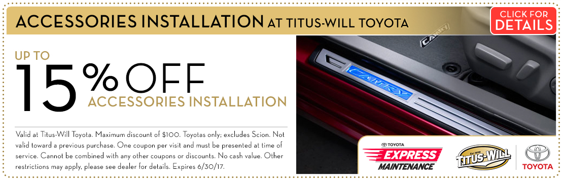 Titus-Will Toyota Accessory Installation Service Coupon serving Tacoma, WA. Click for Details.