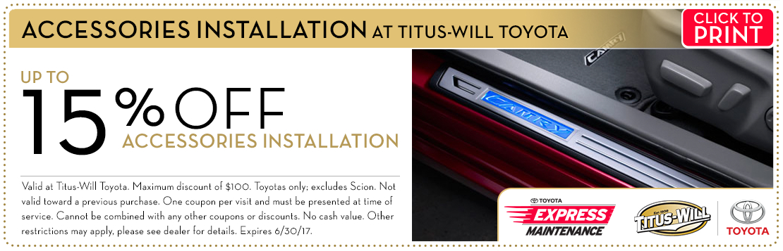 Titus-Will Toyota Accessory Installation Service Coupon serving Tacoma, WA
