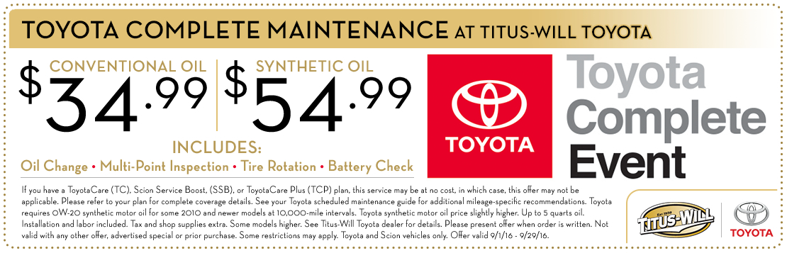 Titus-Will Toyota Conventional & Synthetic Oil Change Service Special Coupon serving Tacoma, WA