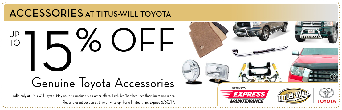 Genuine Toyota accessories parts special at Titus-Will Toyota in Tacoma, WA