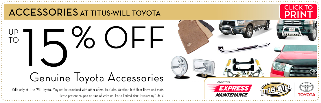 Click to print this genuine Toyota accessories parts special from Titus-Will Toyota