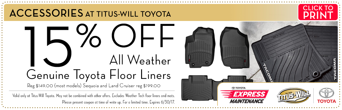 Get 15% Off Genuine Toyota All-Weather Floor Liners in Tacoma, WA