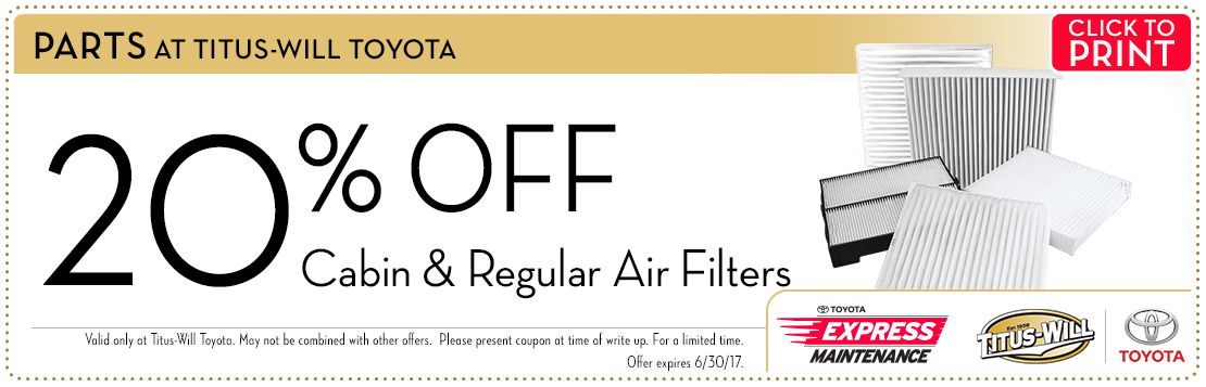 Click to print this Toyota Cabin & Engine Air Filters parts special from Titus-Will Toyota