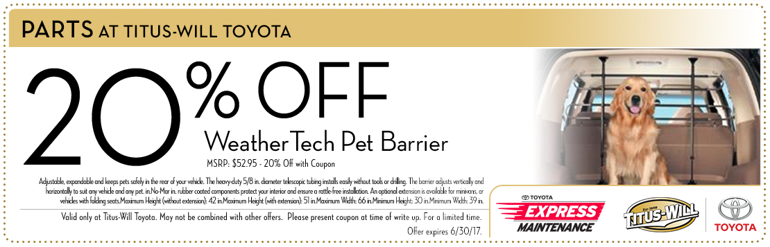 WeatherTech Pet Barrier parts special at Titus-Will Toyota in Tacoma, WA