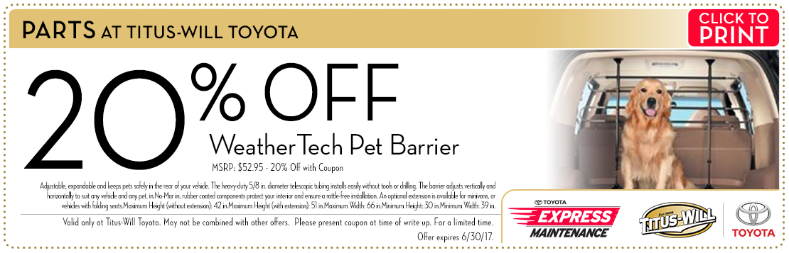 Click to print this WeatherTech Pet Barrier parts special from Titus-Will Toyota