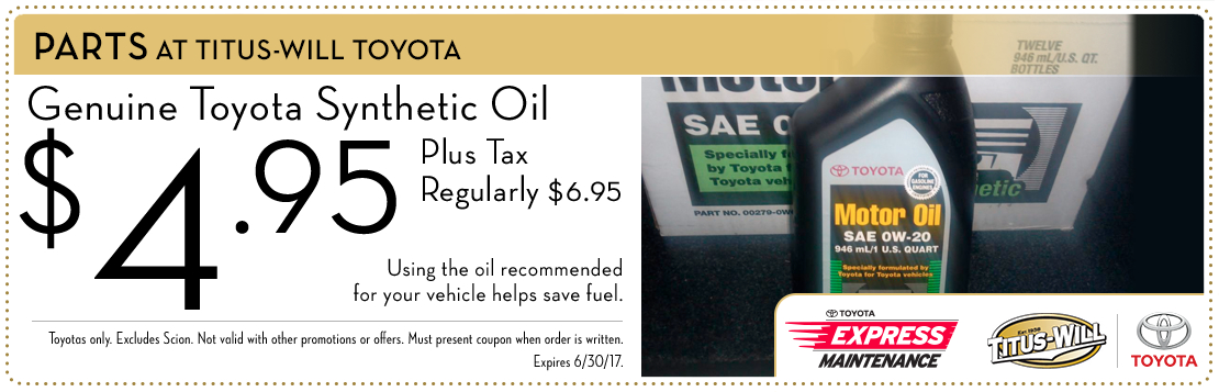 Synthetic oil parts special from Titus-Will Toyota in Tacoma, WA