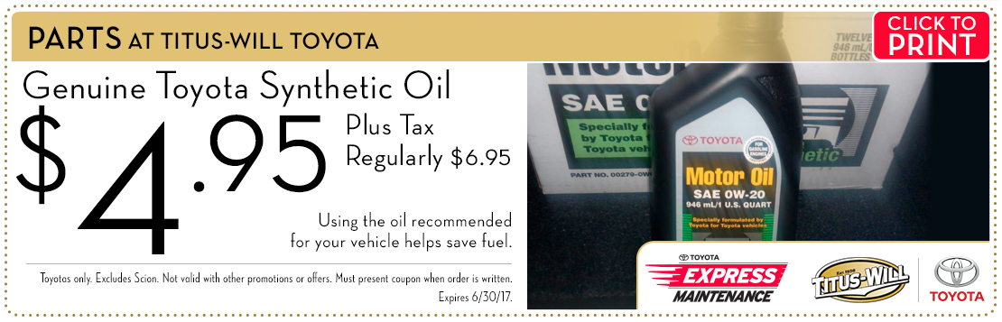 Click to print this synthetic oil parts special from Titus-Will Toyota