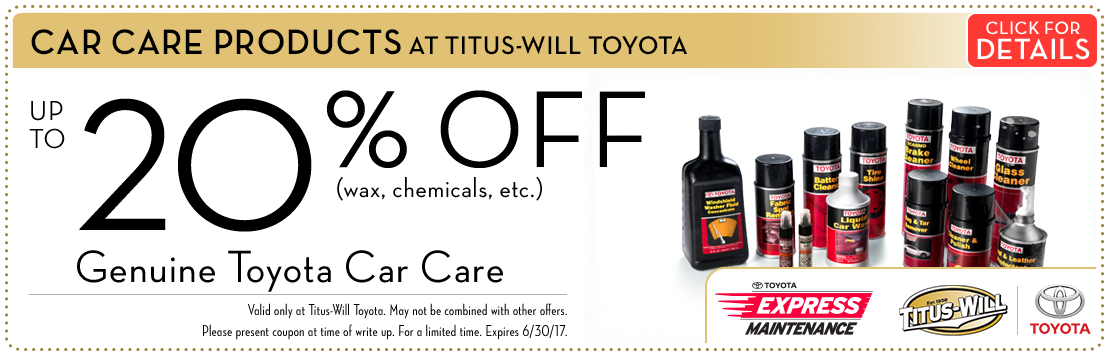 Save on Genuine Toyota Car Care Products at the Parts Department at Titus-Will Toyota in Tacoma, WA