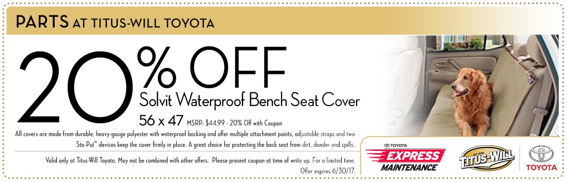 Bench Seat Cover parts special at Titus-Will Toyota in Tacoma, WA