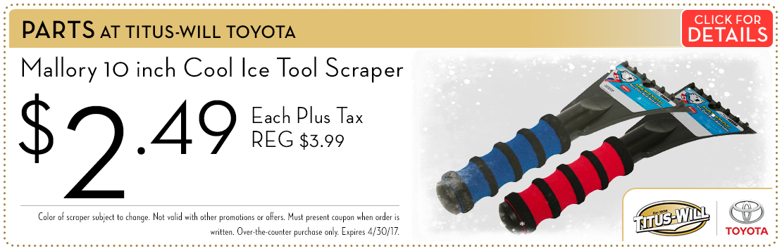 Click to view this Cool Ice Tool Scraper parts special from Titus-Will Toyota