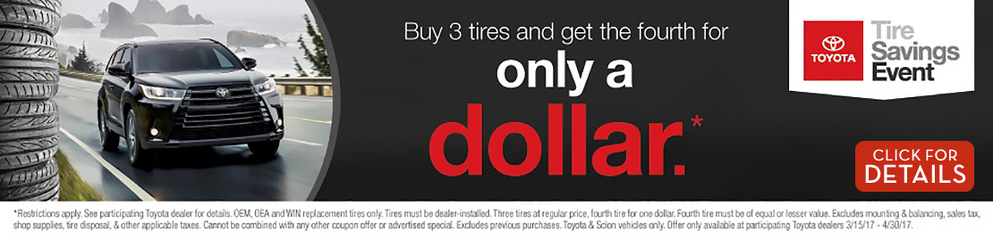 Click to View This Buy 3 New Tires and Get the 4th for $1 Service Special in Tacoma, WA
