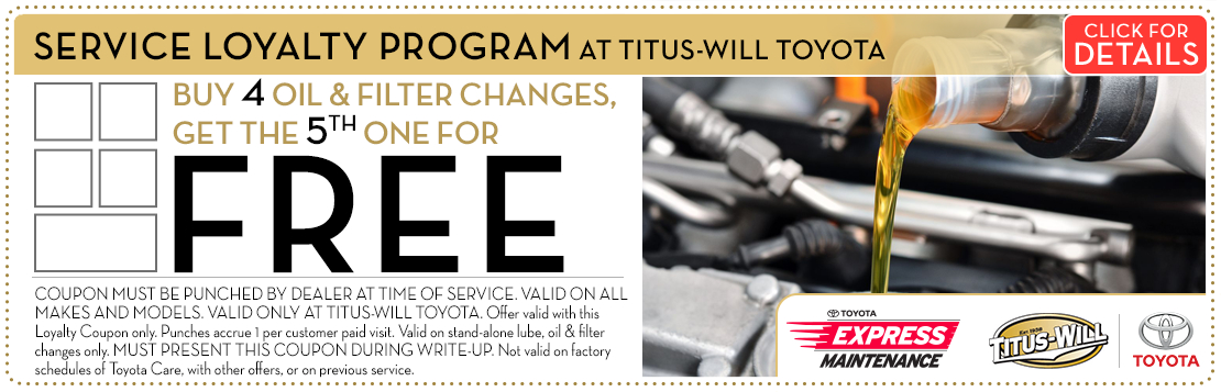 Toyota Oil Change Service Loyalty Program Special in Tacoma, WA
