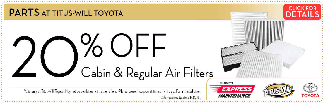 Toyota Cabin & Engine Air Filters parts special at Titus-Will Toyota in Tacoma, WA