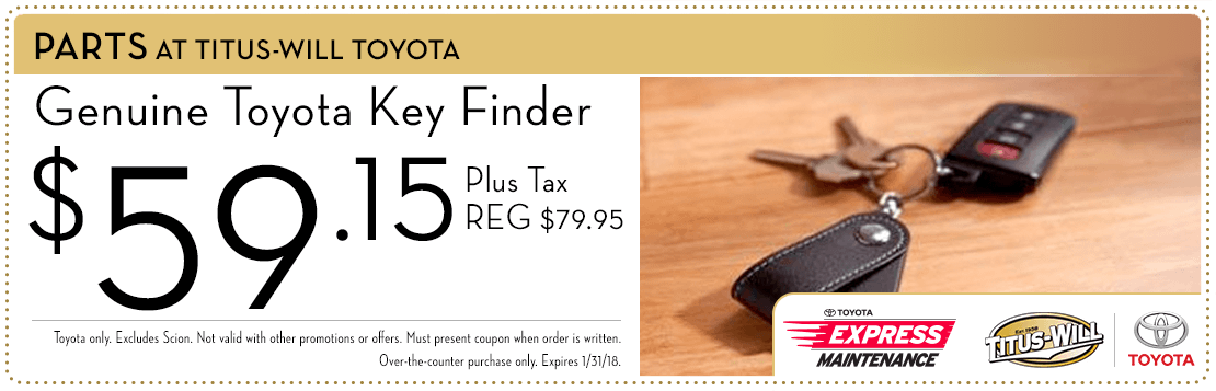 Tire key finder parts special at Titus-Will Toyota in Tacoma, WA