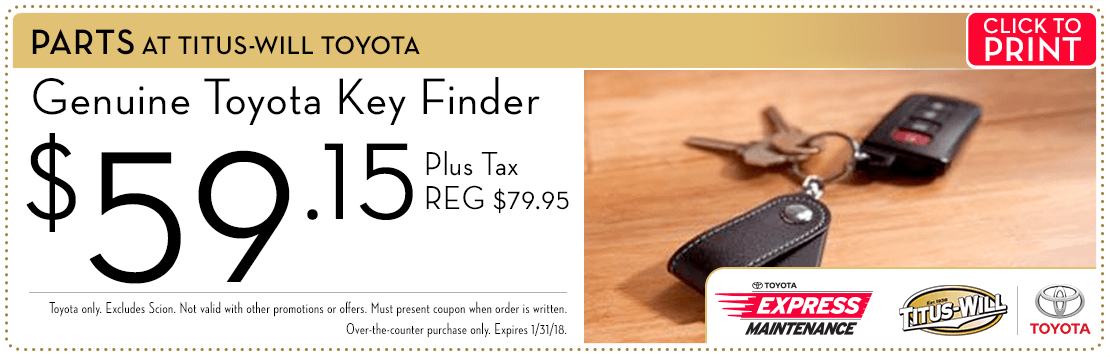 Click to print this key finder parts special from Titus-Will Toyota