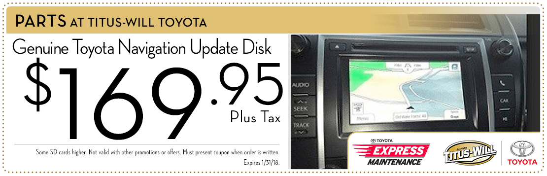 Navigation update disc parts special at Titus-Will Toyota in Tacoma, WA