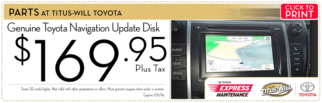 Click to print this navigation update disc parts special from Titus-Will Toyota