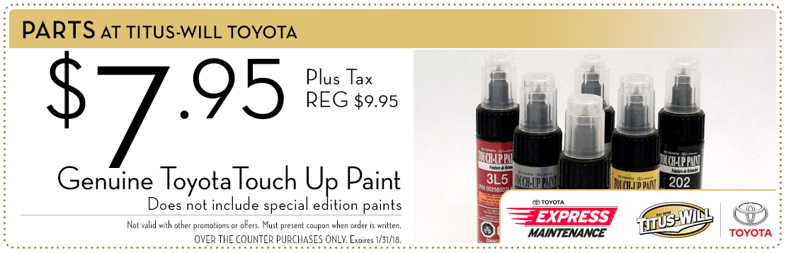 Touch up paint parts special at Titus-Will Toyota in Tacoma, WA