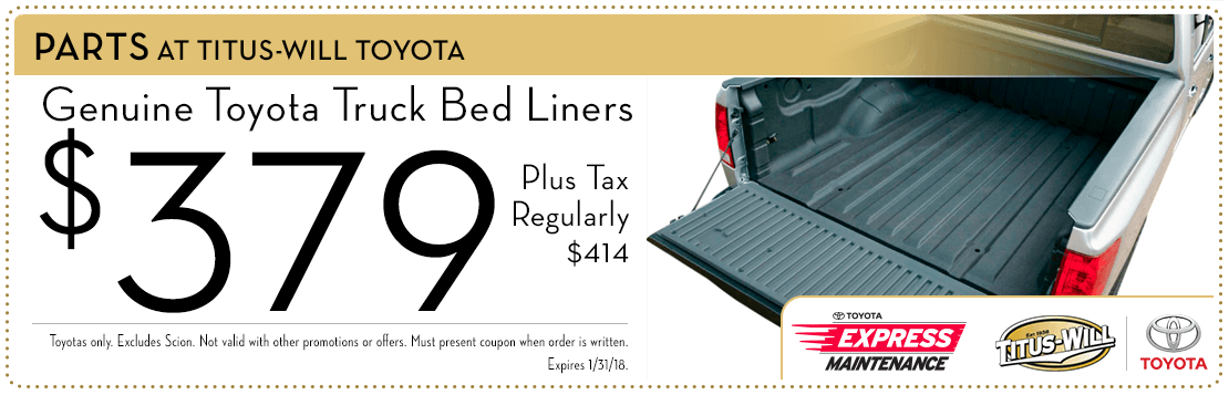 Truck bed liner parts special at Titus-Will Toyota in Tacoma, WA