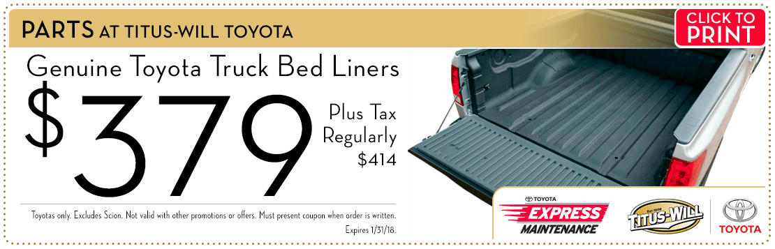 Click to print this touch up truck bed liner parts special from Titus-Will Toyota