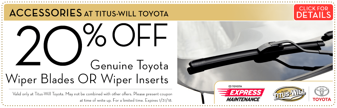 Click to view this 20% Off Genuine Toyota Wiper Products parts special from Titus-Will Toyota