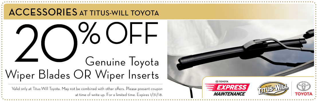 20% Off Genuine Toyota Wiper Products parts special at Titus-Will Toyota in Tacoma, WA