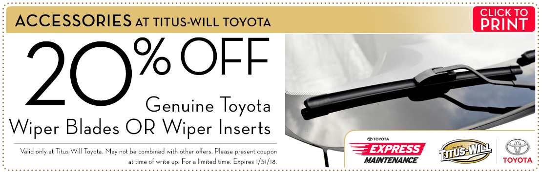 Click to print this 20% Off Genuine Toyota Wiper Products parts special from Titus-Will Toyota