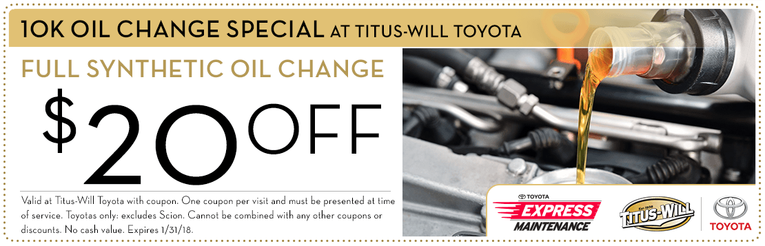Get a discount on a genuine Toyota 10k-Mile synthetic oil change with this special service offer at Titus-Will Toyota Serving Lakewood, WA. Click to print.