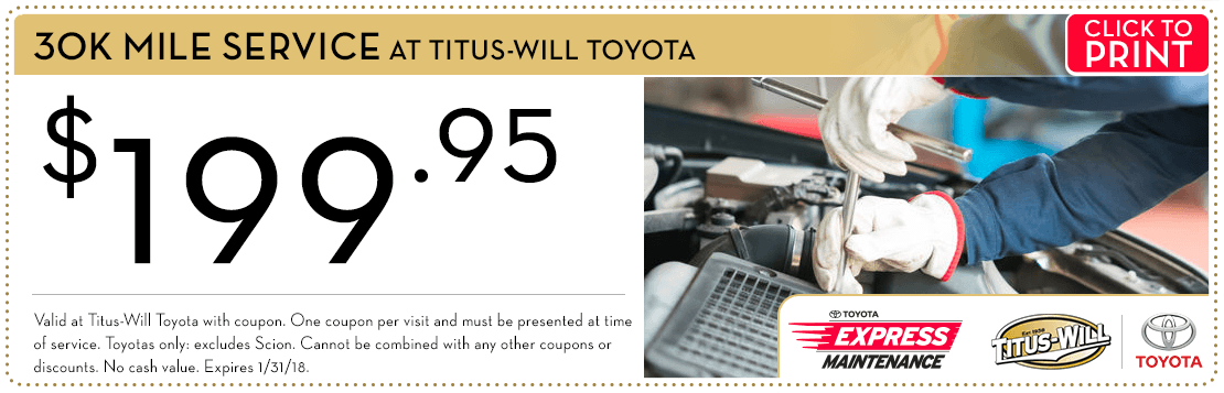 Get a discount on the genuine Toyota 30k-Mile Service Package with this special service offer at Titus-Will Toyota Serving Lakewood, WA. Click to print.